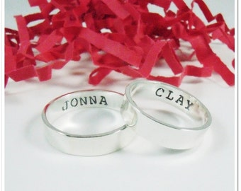 Personalized His and Her Promise Rings - Matching Weddimg Rings - Sterling Silver Wedding Bands - His and His bands - Hers and Hers Rings