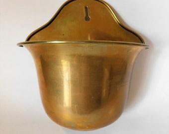 Vintage Brass Wall Planter Pocket