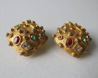 VINTAGE MISH EARRINGS - Bejeweled clip on earrings by famous designer Mish Tworkowski
