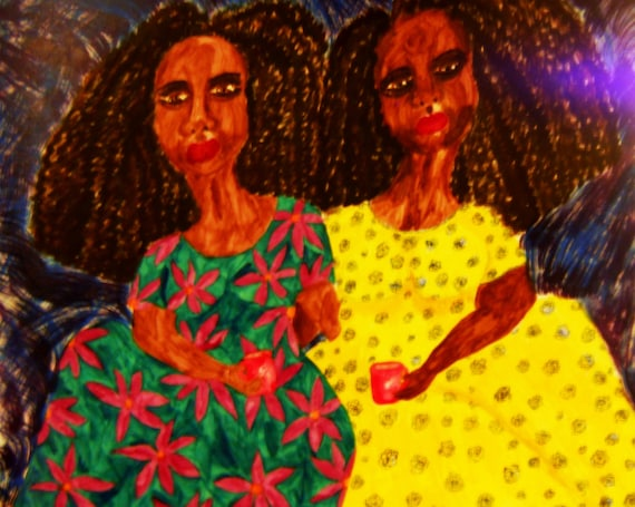 Pigmented India Ink painting, WALAASHAY (Sisters) matted/framed under glass, Outsider Folk Artist by African American Artist Stacey Torres