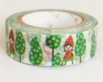 210633 white with Little Red Riding Hood tree Washi Masking Tape deco tape Shinzi Katoh