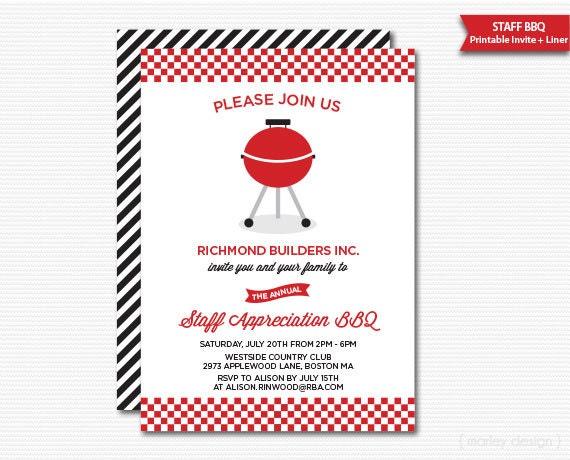 Company Staff Appreciation BBQ Invitation Printable Company