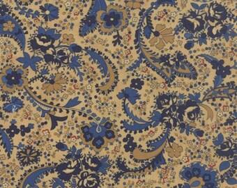 Polka Dots and Paisleys Paisley Tan Blue - 1/2yd