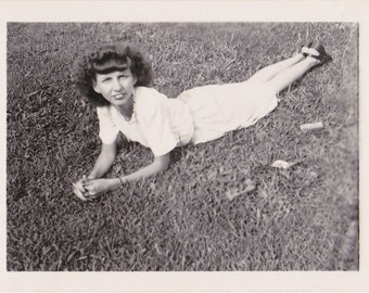 Toothsome Beauty- 1940s Vintage Photograph- Pretty Woman- Laying in Grass- Found Photo- 40s Snapshot- Vernacular Photo- Paper Ephemera