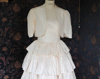 1980 white silk taffeta wedding dress