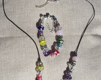 HandmadeBbracelet & Necklace Set - RAINBOW