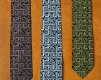 Maze Tie - Labyrinth Necktie - Men's Gift - Unique Ties - Screen Printed Neck Tie - Brick Wall