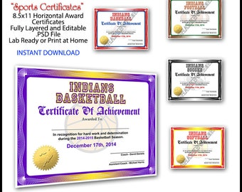Instant download softball certificate of achievement 5 in 1 sports award certificate achievement photoshop template 85x11 standard size for yadclub Choice Image