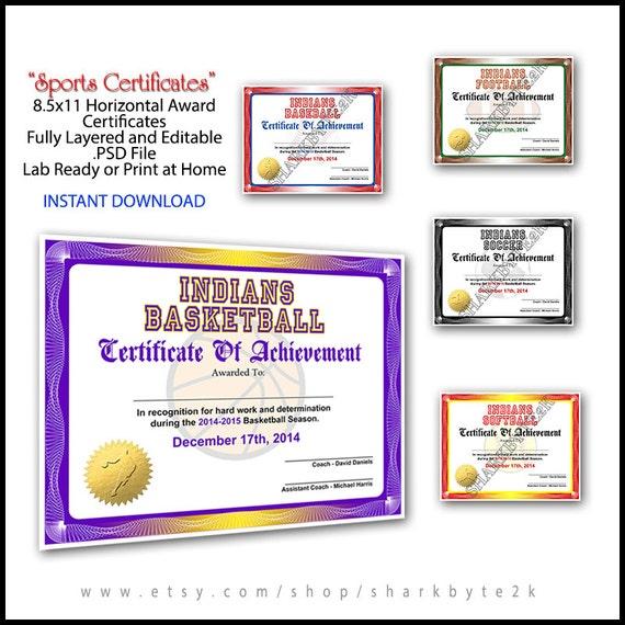 5 in 1 sports award certificate achievement photoshop 5 in 1 sports award certificate achievement photoshop template 85x11 standard size for football baseball softball soccer basketball yelopaper Images
