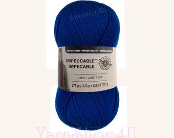 ROYAL Blue Loops and Threads Impeccable Yarn. A large 4.5oz Solid Blue worsted weight. 277 Yards makes this value yarn go a long way. <