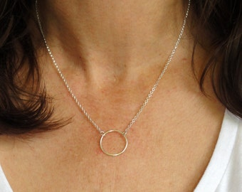 Sterling silver circle necklace, Circle necklace, Karma necklace, Large circle necklace, Layering necklace, Minimalist necklace