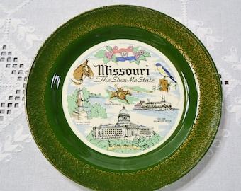 État du Missouri Vintage plaque voyage Souvenir souvenir détails or vert Homer Laughlin Nautilus USA Americana PanchosPorch
