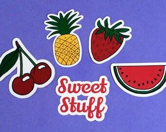 Fruit Stickers Set of 5, Food Sticker, Laptop Sticker, Phone case sticker, ipad Sticker