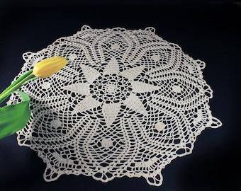 Crochet Doily, Ecru, Natural, Cotton,  21.5 inches, Round, Fine Art Crochet, Table Mat, Centerpiece, Handmade