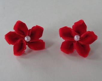 Red Flower Earrings, Stud Earrings With Disk Backs, Red Earrings With Silver-Tone Backs, Nickel Free Earrings, Faux Pearl Bead