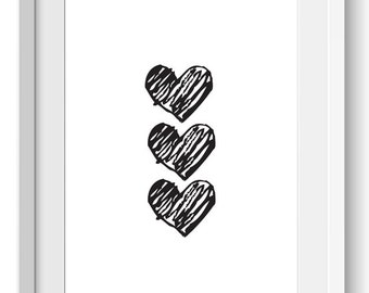 Hand Drawn Hearts Print   Doodle Hearts Print   Black and White Hearts Print   Doodle Hearts Printable   Instant Download