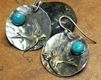 Turquoise Earrings Sterling Silver Bird - Across the Turquoise Sky Earrings