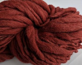 "Yarn Handspun Alpaca & Wool Thick and Thin Bulky  58 Yards  Dark Red Hand Dyed  "" Sundried Tomato "" Doll Hair Knitting Supply"