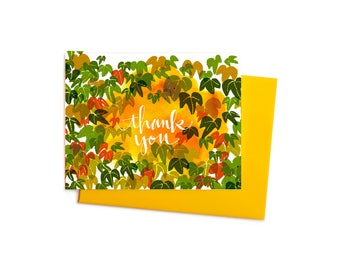 Boston Ivy Single Thank You Note, Fall Vine Thank You Card, Fall Colors, Thanksgiving Card