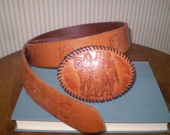 """Vietnam soldiers belt- handmade, hand-tooled cowhide belt with US Marine Corps logo and soldiers- men's Marine Corps belt- Size 35""""-41"""""""