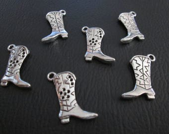 10 charms cowboy boots / cowboy boot 23 x 15 mm antique silver