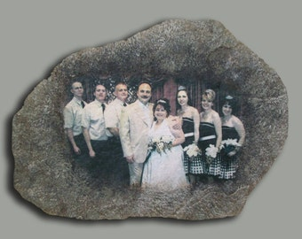 Hand Painted Wedding Photo Art on Stone