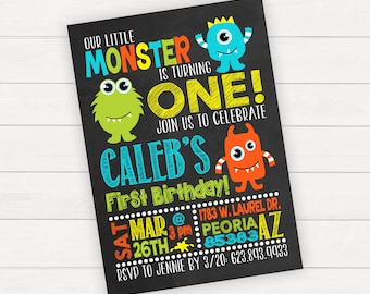 Monster Birthday Invitation, Little Monster Birthday Invitation, Boy 1st Birthday Invitation, Printable Invitation, Printed Invitations,