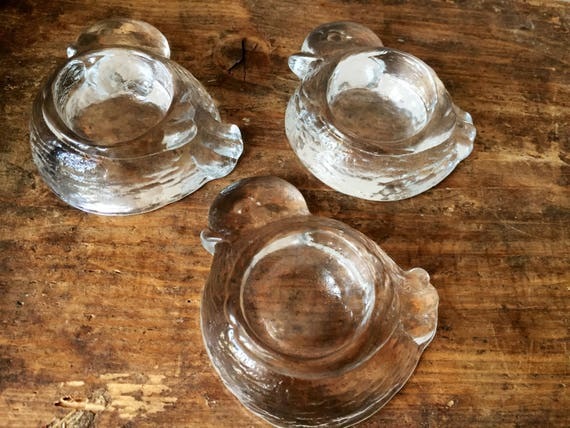 Swedish set of 3 crystal egg cups duck figurines 1980s