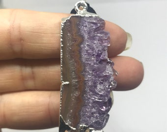 Banded Agate and Amethyst Geode slice necklace