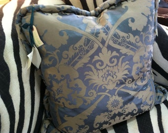 vintage silk and rayon brocade pillow with slouchy jumbo cord,