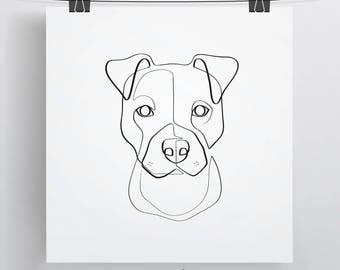 Signed Pit Bull Art Print | Pitbull Drawing | Pit Bull Art | Pit Bull Line Drawing | Pit Bull Gift Ideas | Single Line Art | Best Dog Art