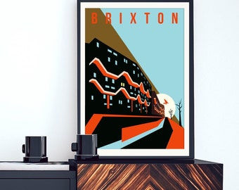 Brutalist London - Southwyck House Brixton. Illustrated Poster Art Print - Matte and Giclee prints. Architecture Prints of London. Wall art.