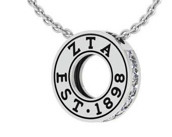 Zeta Tau Alpha Circle Established Charm Necklace