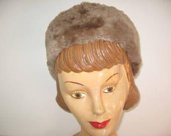 1950's Fur and Wool Felt Open Crown Pillbox Hat!