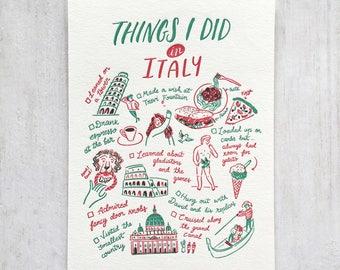 J'ai fait des choses en Italie typographie carte postale