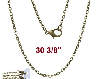 """1 pc. Antique Bronze Cable Chain Link Necklaces 30 3/8"""" - (3 x 2mm Links) - Lobster Clasps - Claw Clasp"""
