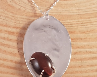 Sterling Silver Upcycled Spoon Necklace with Tigers Eye Cabochon
