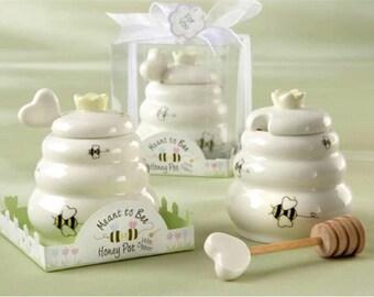 Baby shower Favor - Favor Gift- Ceramic Honey Pot with Wooden Dipper - Party Favors -  - Wedding Favor -  wedding guest gift