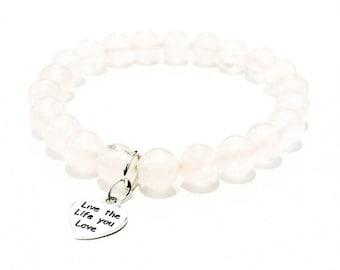 Pink Rosequartz Beaded Bracelet