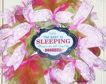 Baby Girl wreath, baby girl nursery door, sleeping baby door hanger, its a girl wreath, pink baby wreath