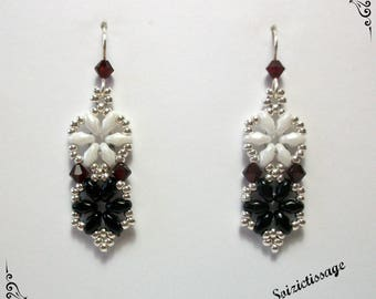 Earrings dangling seed beads and Crystal woven woman