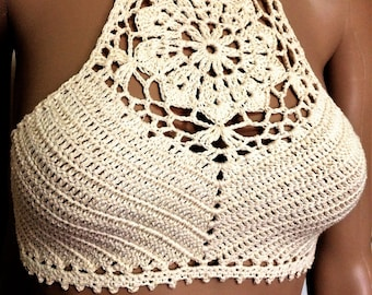Crochet Bikini Top. Cotton Lace Crop Top. Festival Top. Crocheted Bikini Top. Halterneck Women's Top. Handmade in Melbourne, Australia.