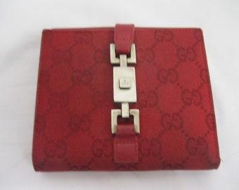 Red Gucci Monogram Push Lock Wallet