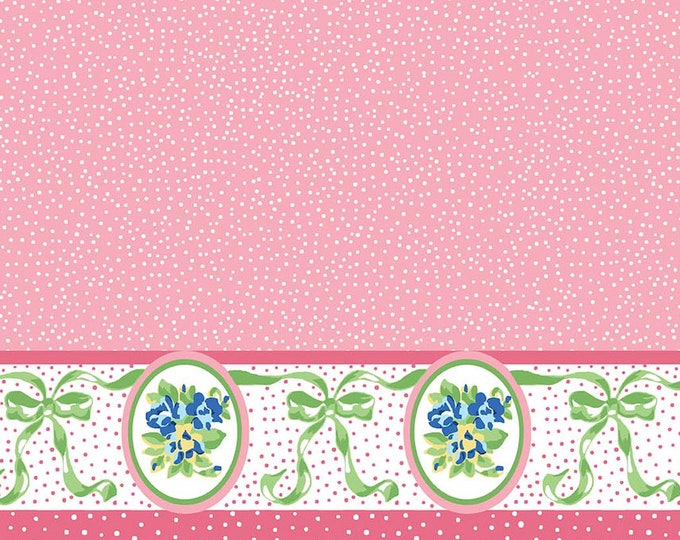 Mae Flowers Fabric by Lindsay Wilkes from The Cottage Mama for Riley Blake Designs and Penny Rose Fabrics - Pink Border