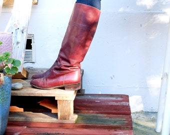 Vintage Knee -high boots, burgundy leather, size 36