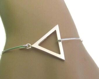 Triangle Bracelet, Triangle Bangle Bracelet, Sterling Silver Bracelet, Geometric Bracelet, Friendship Bracelet, Gift for Her