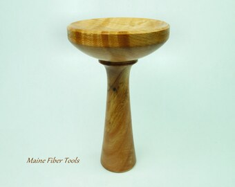 Lap Spinning Support Bowl- Spinning Chalice- Curly Maple- Maine Fiber Tools