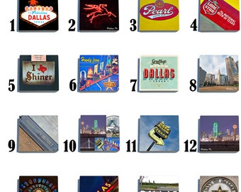 Dallas, Texas - Stone Drink Coaster Set - Pick Any 4