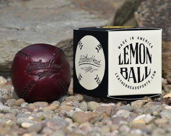 LEMON BALL Burgundy chromexcel leather baseball with white stitch, vintage style, Handmade, Sports, Play (Lb-Burg-Wh)