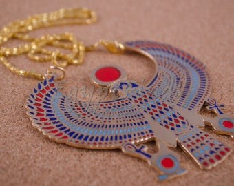 XL Egyptian Brass Enamelled Falcon As Horus Necklace